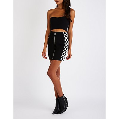 Checkered Zip Up Mini Skirt