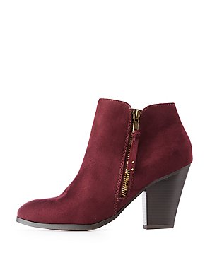 Zipper Trim Ankle Booties