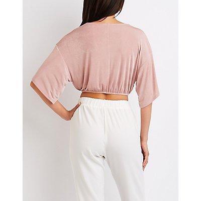 Kimono Sleeve Wrap Crop Top