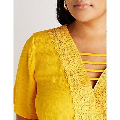 Plus Size Crochet Trim Belted Romper