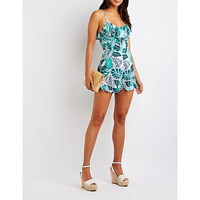 Tropical Open Back Romper