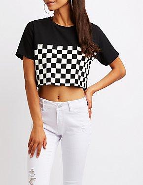 Checkered Crop Tee