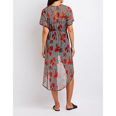 Floral Stripe Longline Kimono