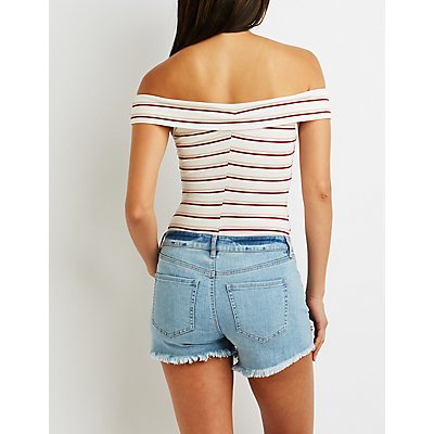 Striped Crisscross Off-The-Shoulder Bodysuit
