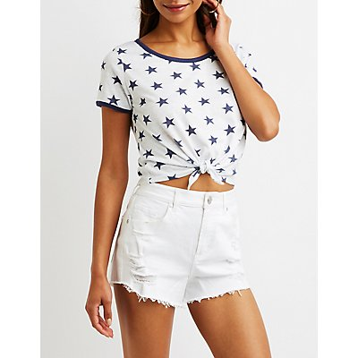 Star Print Knotted Ringer Tee