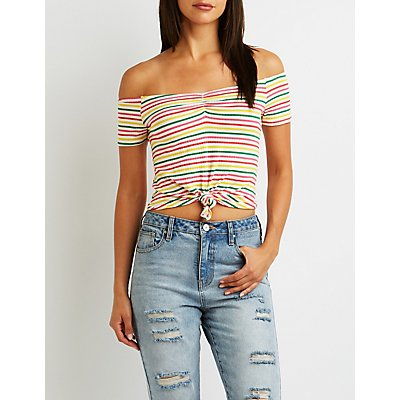 Striped Tie-Front Off-The-Shoulder Crop Top