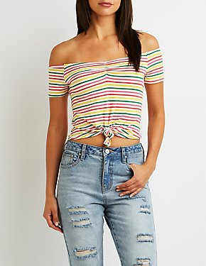 Striped Tie-Front Off-The-Shoulder Crop Top