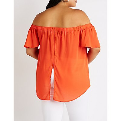 Plus Size Off The Shoulder Flutter Top