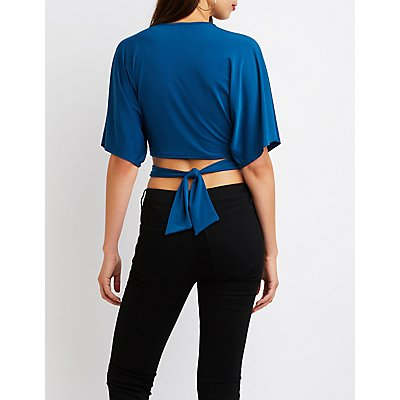 Cut Out Tie Front Crop Top