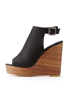 Peep Toe Slingback Wedges