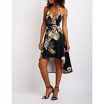 Lace Back Floral Skater Dress