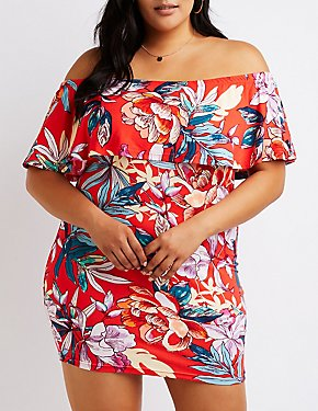 Plus Size Floral Off The Shoulder Bodycon Dress