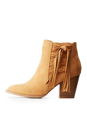 Fringe Accented Ankle Booties
