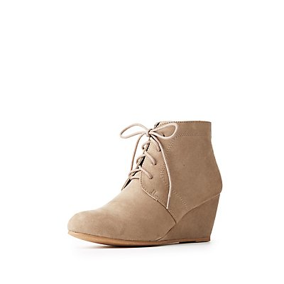 Desert Lace-Up Wedge Booties