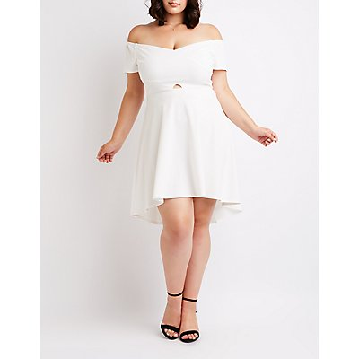 Plus Size Off The Shoulder Skater Dress