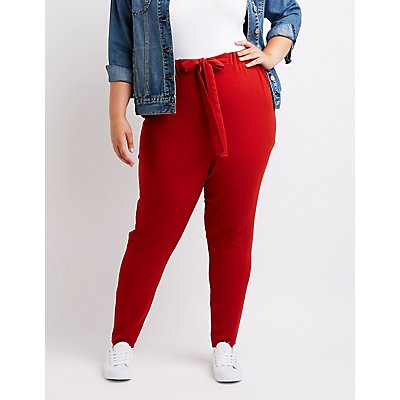 Plus Size Tie Front Skinny Pants