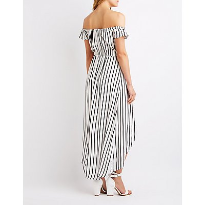 Striped Off The Shoulder Maxi Romper