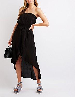 Strapless High Low Maxi Dress