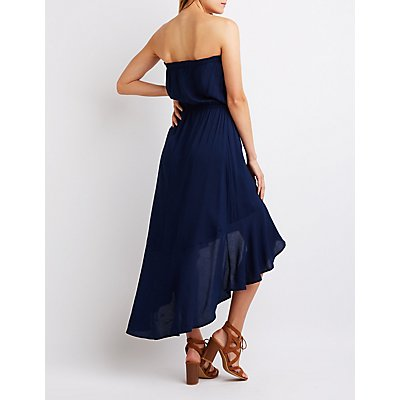 Strapless High Low Maxi Dress