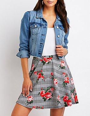 Floral Houndstooth Skater Skirt
