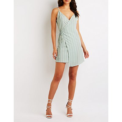 Stripe Wrap Tie Dress