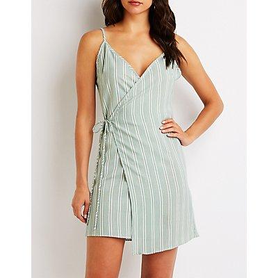 Stripe Wrap Tie Dress