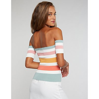 Ribbed Knit Striped Off-The-Shoulder Top