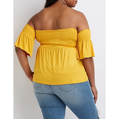 Plus Size Off The Shoulder Smocked Top