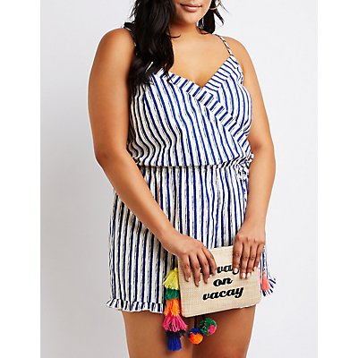 Plus Size Striped Cut Out Romper