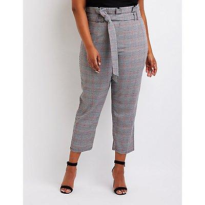 Plus Size Plaid Paperbag Trousers