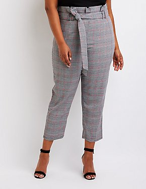 Plus Size Plaid Paperbag Trousers