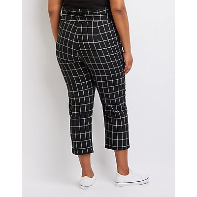 Plus Size Windowpane Paperbag Trousers