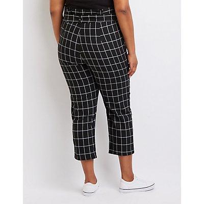 Windowpane Paperbag Trousers
