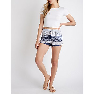 Border Print Drawstring Shorts