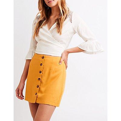 Button Up Mini Skirt