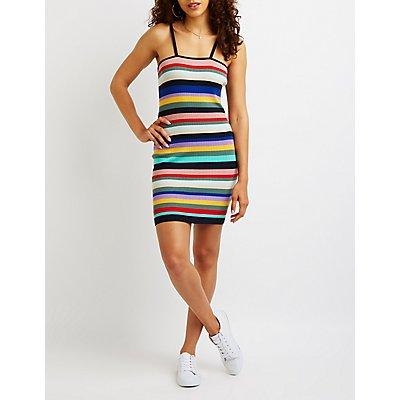 Striped Bodycon Sweater Dress