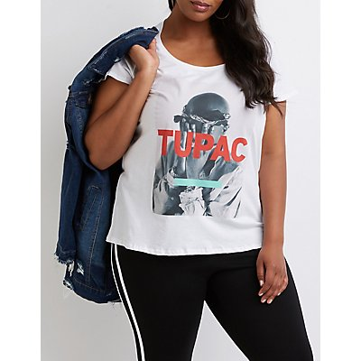 Plus Size Tupac Graphic Boyfriend Tee