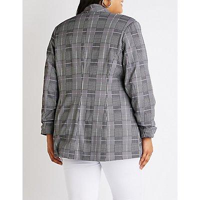 Plus Size Plaid Open Front Blazer