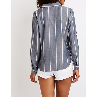 Striped Button Up Tie Front Top