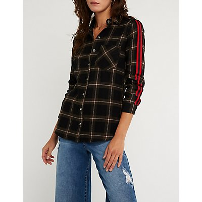 Plaid Striped Sleeve Button Up