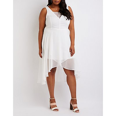 Plus Size Eyelash Lace Hi Low Dress