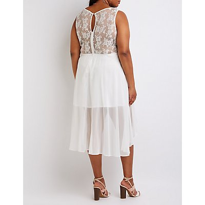 Plus Size Eyelash Lace Hi Low Dress