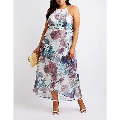 Plus Size Floral High Low Maxi Dress