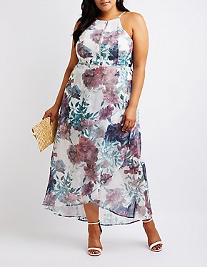 Plus Size Floral High Low Maxi Dress