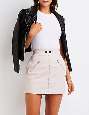 Windowpane A-Line Skirt