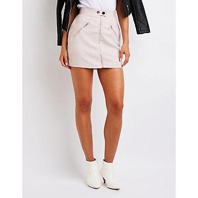 Windowpane A-Line Skirt