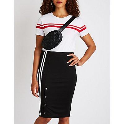 Varsity Striped Button Up Skirt