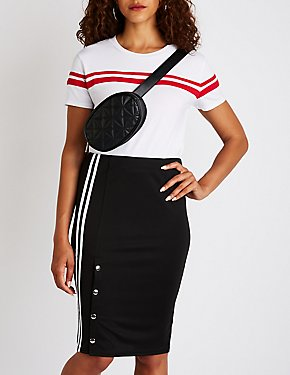 Varsity Striped Button Up Skirt