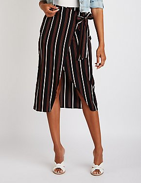 Striped Wrap Midi Skirt