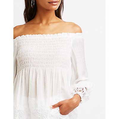 Crochet-Trim Off-The-Shoulder Babydoll Top